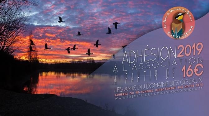 ADHÉSION À L'ASSOCIATION POUR L'ANNÉE 2019
